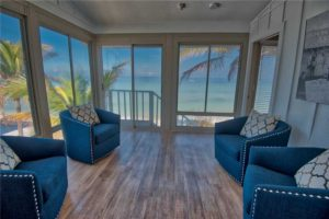 Ocean view from living room of vacation rental in Anna Maria Island, FL