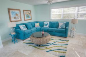 Well decorated living room of vacation rental in Anna Maria Island