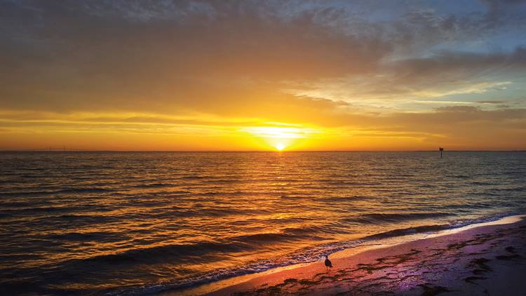 Sunset over anna maria island in the fall