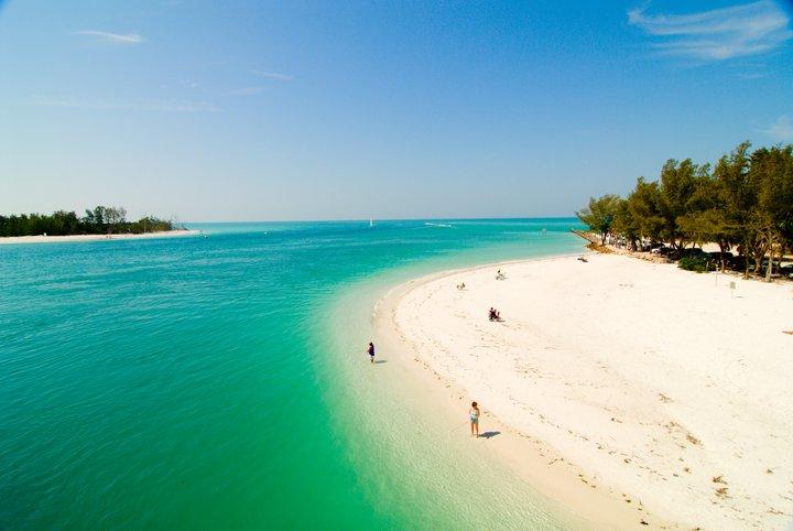 Anna Maria Island beach overhead shot
