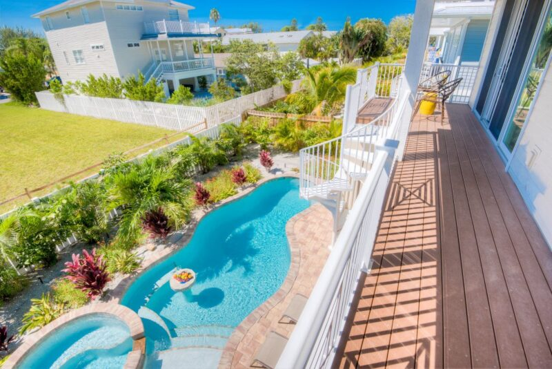 view of pool from balcony in anna maria island