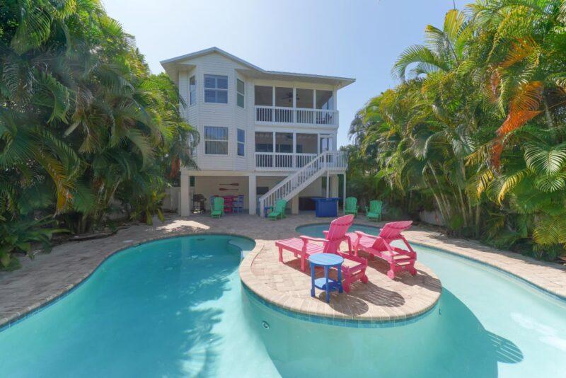 backyard of pool home in anna maria island