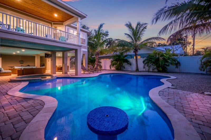 pool in backyard at twilight in anna maria island