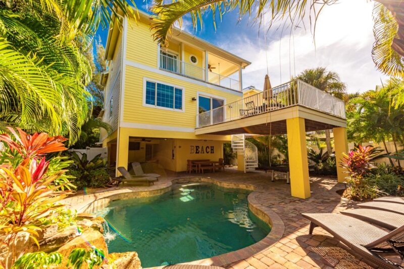 backyard with pool in anna maria island