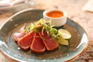 raw tuna on a plate